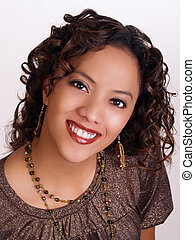 Young hispanic woman portrait with big smile