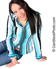 Young Hispanic Woman - Pretty young Hispanic woman sitting...