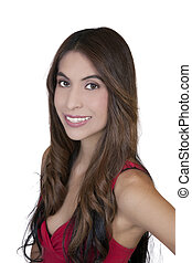 Young Hispanic Woman Smiling Portrait Red Top