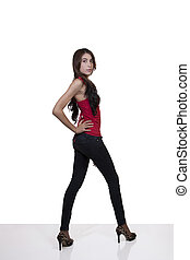 Young Hispanic Woman Standing Jeans Red Top