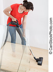Young housekeeper cleaning flat