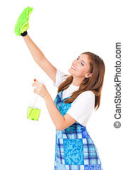 Young housewife cleaning, isolated on white background
