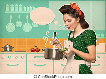 Young housewife cooks in the kitchen with speech bubble