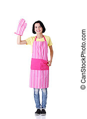Young housewife in pink apron ang glove, isolated on white