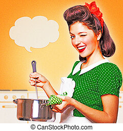 Young housewife in retro dress cooking soup in her kitchen ...