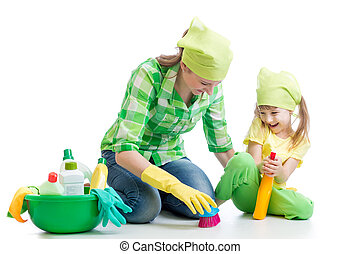 young housewife mother and her kid do homework together