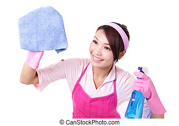 young housewife woman mother cleaning on white background, asian