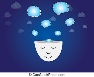 young human head dreaming meditating with thought bubbles art. peaceful and relaxed young man thinking with closed eyes with thoughts coming out of his head with dark blue sky background illustration