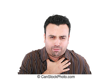 young ill man coughing isolated over white background