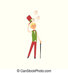 Young illusionist showing trick with doves flying from magic top hat. Magic focus. Cartoon man with stick, dressed in pants, vest, shirt and butterfly. Flat vector design.