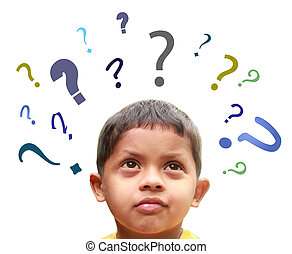 Young indian boy puzzled over many confusing questions without solutions about his friends, school, parents, food, play, etc.