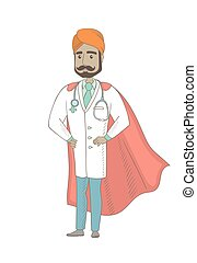 Young indian doctor dressed as a superhero.