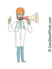 Young indian doctor talking into loudspeaker.