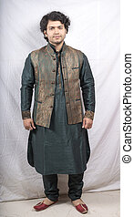 young indian male model in kurta front pose