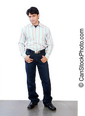 young indian man isolated on white background