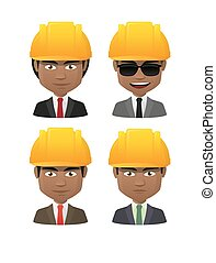 young indian men wearing a protection helmet avatar set