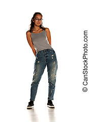 Young Indian woman in jeans