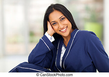 young indian woman portrait in pajamas