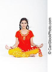 indian woman yoga meditation