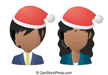 Young indians wearing a santa hat