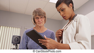 Young intelligent doctor looking at tablet with patient