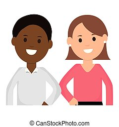young interracial couple characters