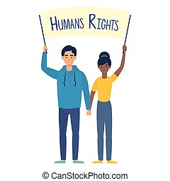 young interracial couple with human rights label vector...