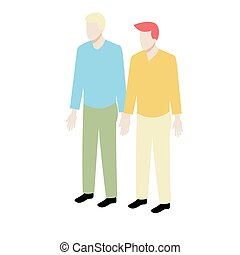 Young isometric gay couple