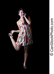 Young Japanese American Woman Standing One Leg
