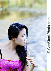 Young Japanese Woman Portrait At River