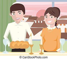 young jewish couple at shabbat dinner - cartoon vector...