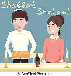 young jewish couple welcoming shabbat - vector cartoon...