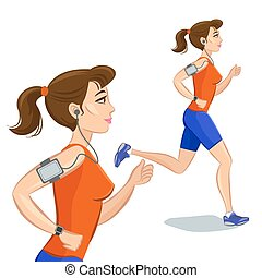 Young jogging woman, loss weight cardio training with smart device. Vector illustration.