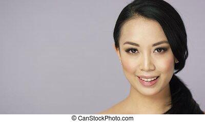 Young joyful brunette woman - Headshot of young pretty...