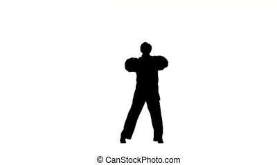 young karate makes rack on a white background, Silhouette,...