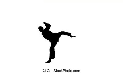 young karate or taekwondo makes rack on a white background, Silhouette