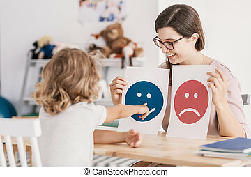 Young kid pointing at graphic with a smiley face during a psycho