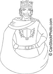 Young King With Crown Coloring Page - Vector illustration ...
