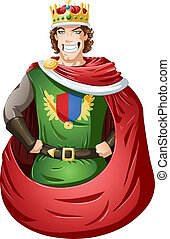 Young King With Crown - A vector illustration of a young...