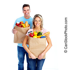 young kuplovat, s, jeden, potravinářský obchod shopping, bag.