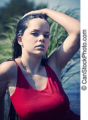 Young lady after swimming - Young lady in swimm suit. Posing...