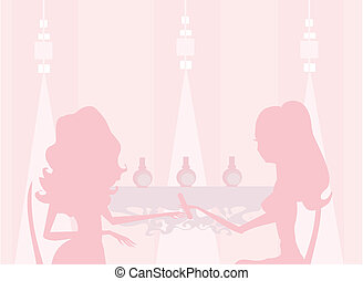 manicure in beauty salon - Young lady doing manicure in...
