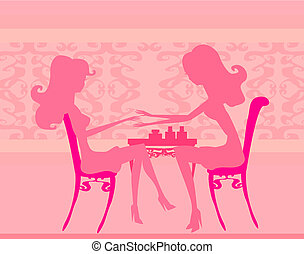 Young lady doing manicure in beauty