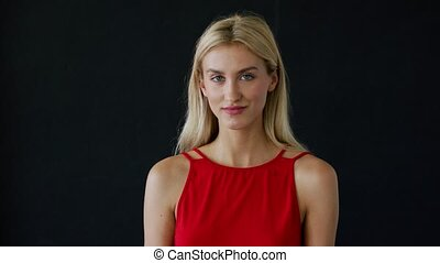 Young lady in red clothing - Beautiful young woman in red...