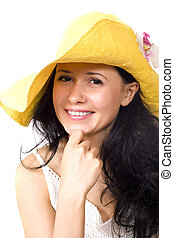 Young lady in yellow hat isolated on white