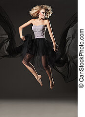 Young lady jumping