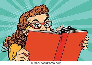 Young lady reading a book, pop art retro vector...
