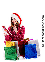 young lady reading christmas card