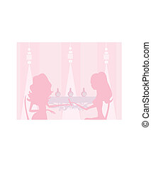 Young lady silhouette doing manicure in beauty salon