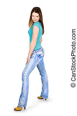 young lady standing against isolated white background